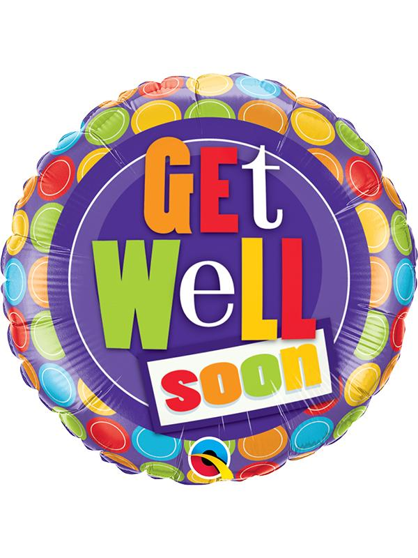 Foil Balloon Get Well Soon Dots