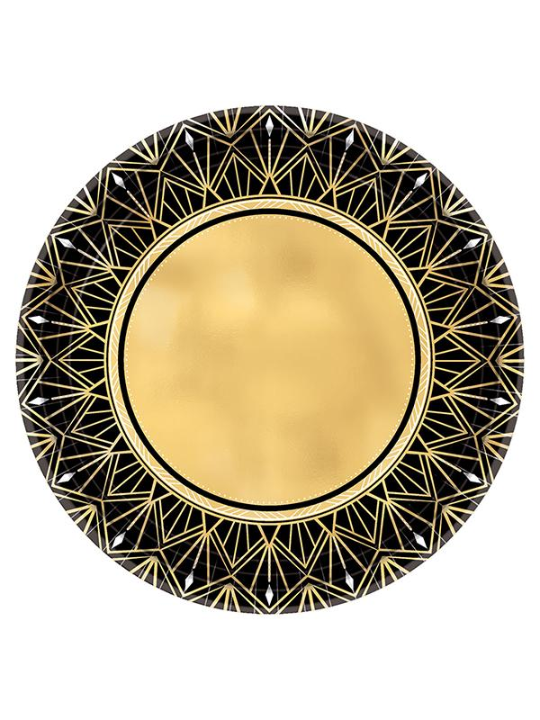 Paper Plates Hollywood Metallic Gold & Black
