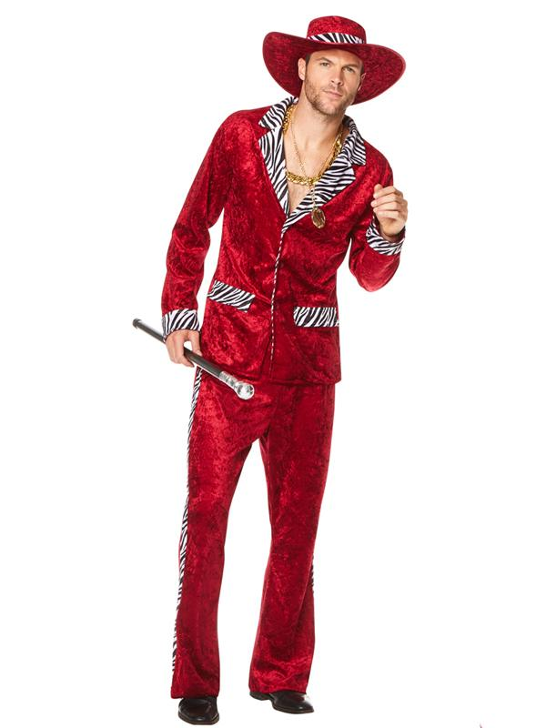Male 1970's Pimp Suit Red with Hat