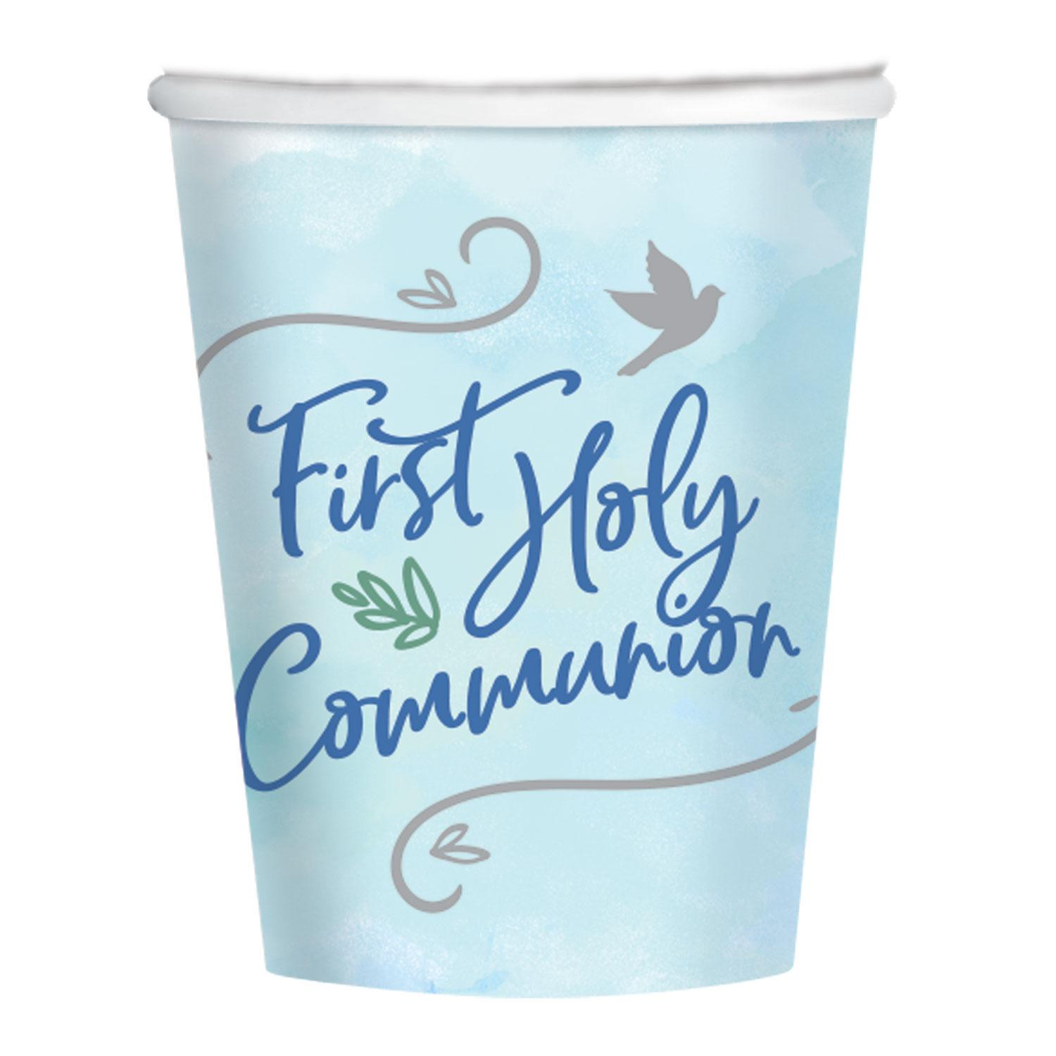 Paper Cups First Holy Communion Blue