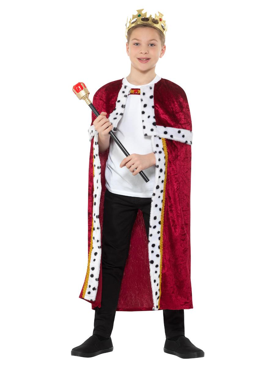 Kids Royal Cloak Red with Crown & Staff