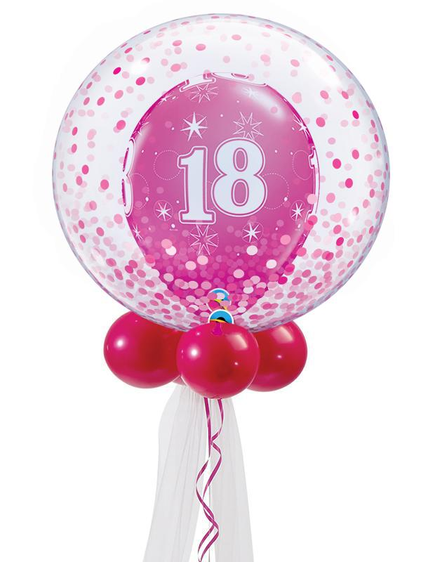 Pink Birthday Double Bubble Balloon Bouquet Ages 18-60