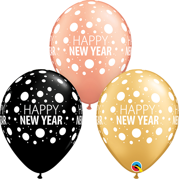 Latex Balloons Happy New Year Black