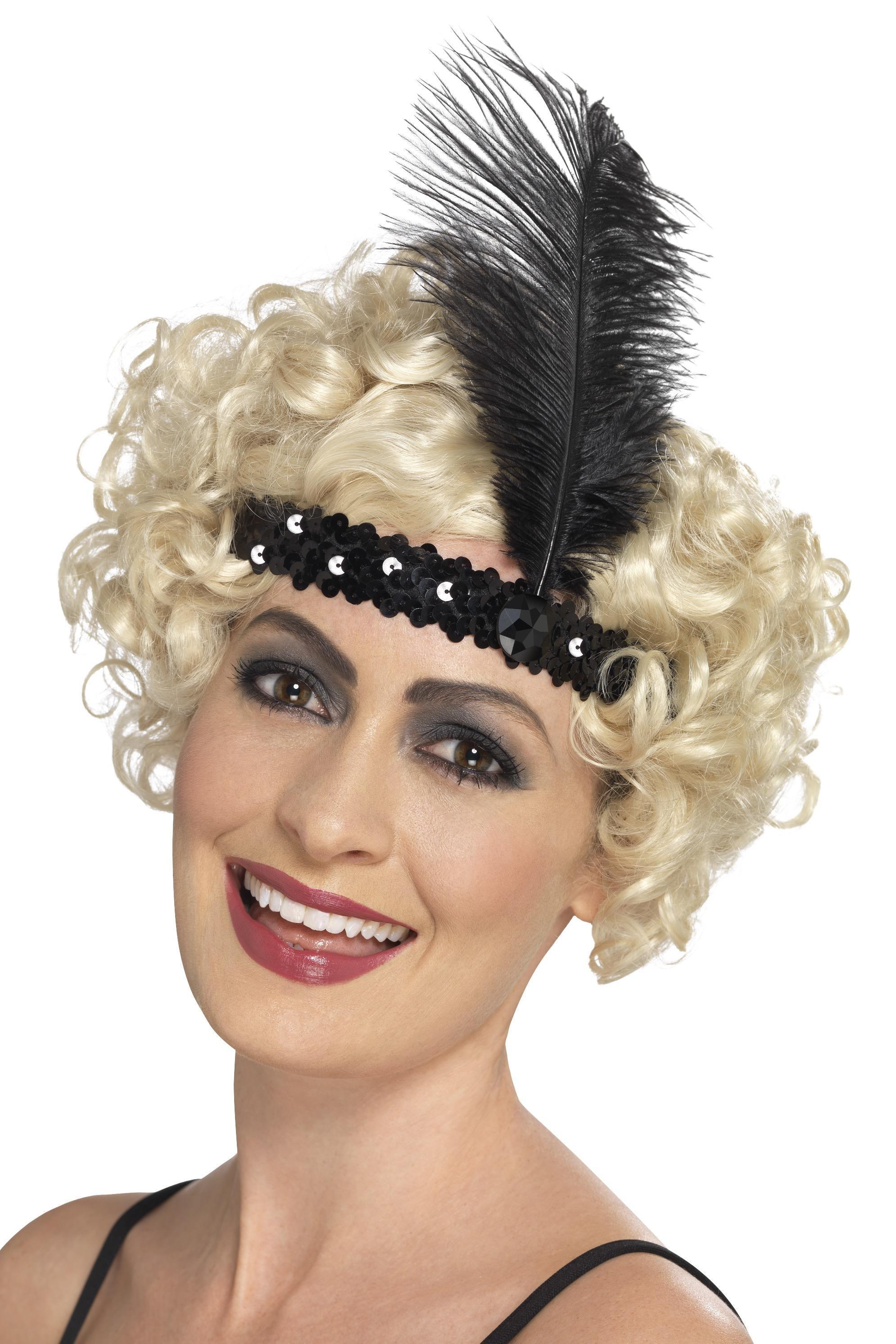 Flapper Headband Black Sequin