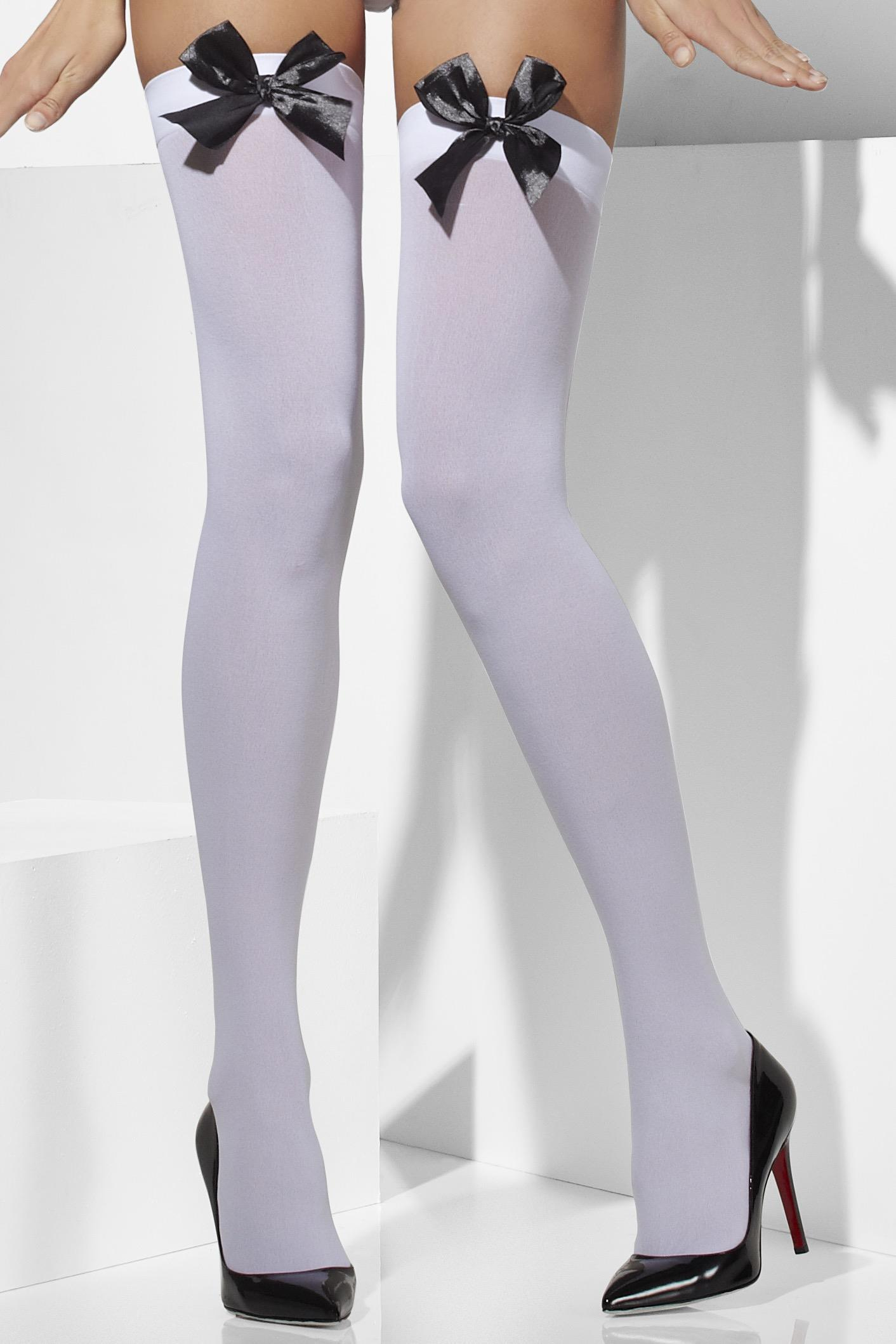 Opaque Hold-Ups white with white Bows