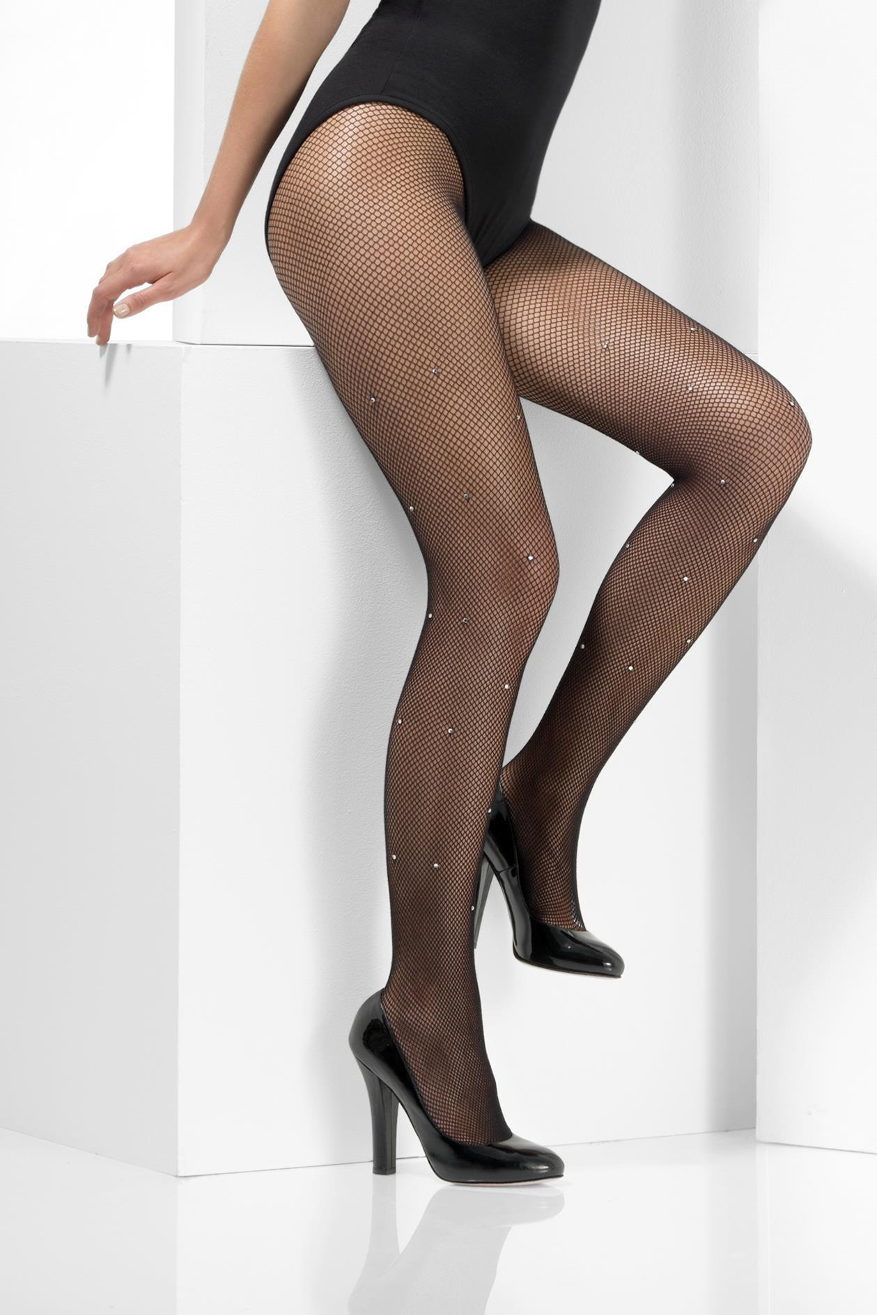 Crystallised Fishnet Tights Black