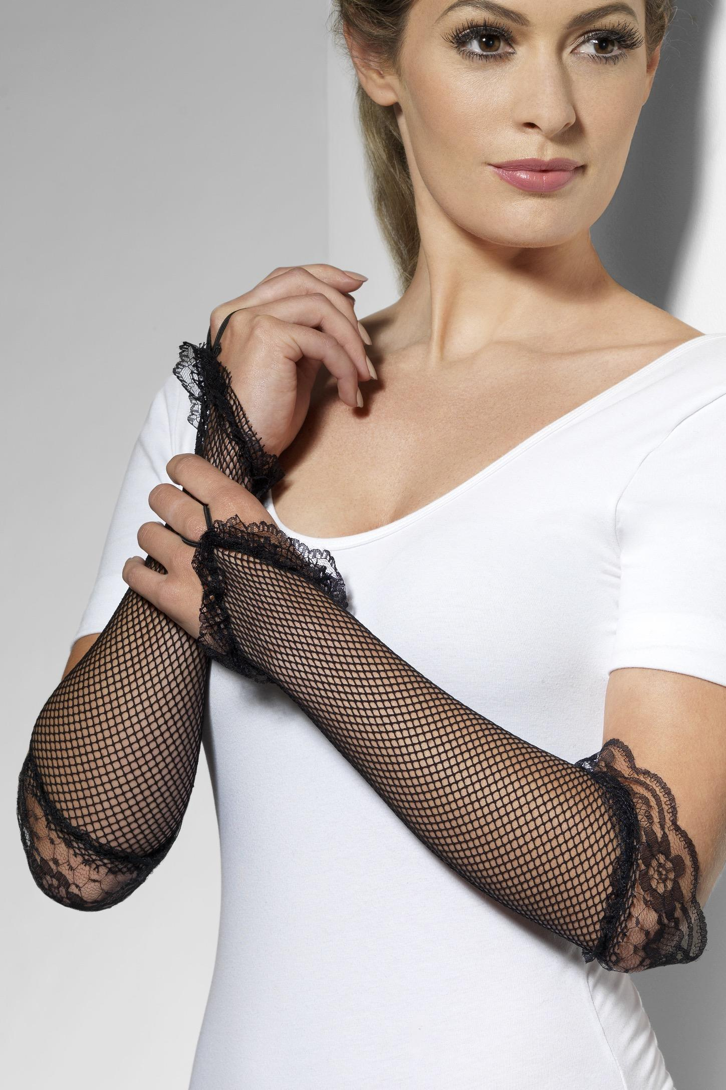 Fingerless Fishnet Lace Gloves Black