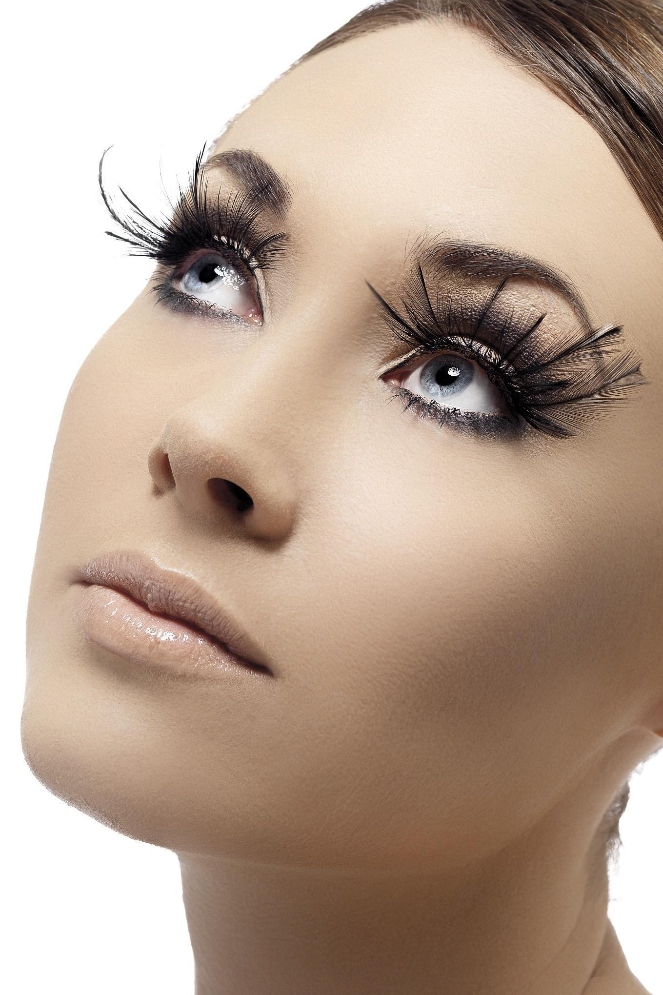 Eyelashes Black with Feather Plumes