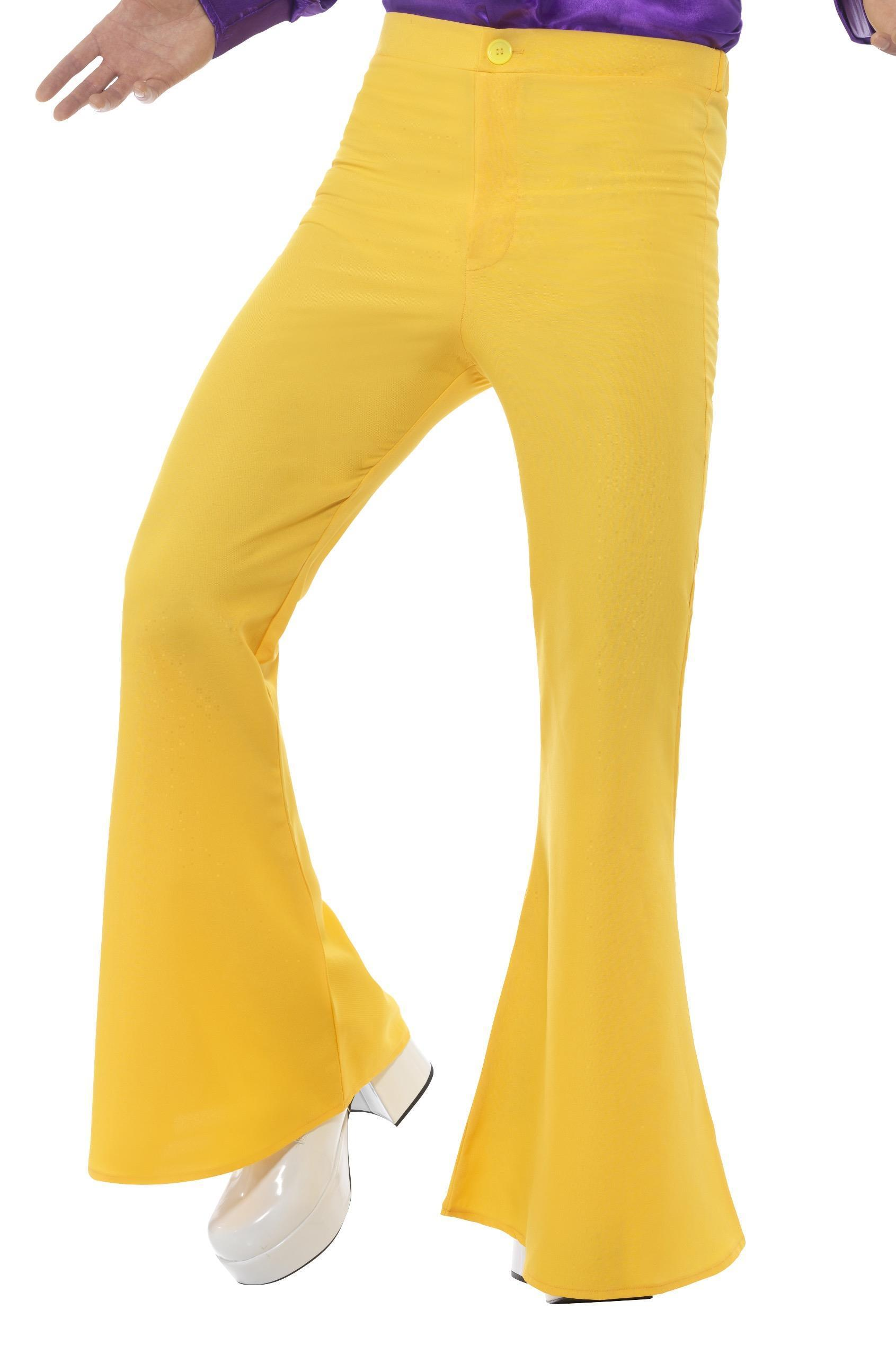 Mens Flared Trousers Yellow