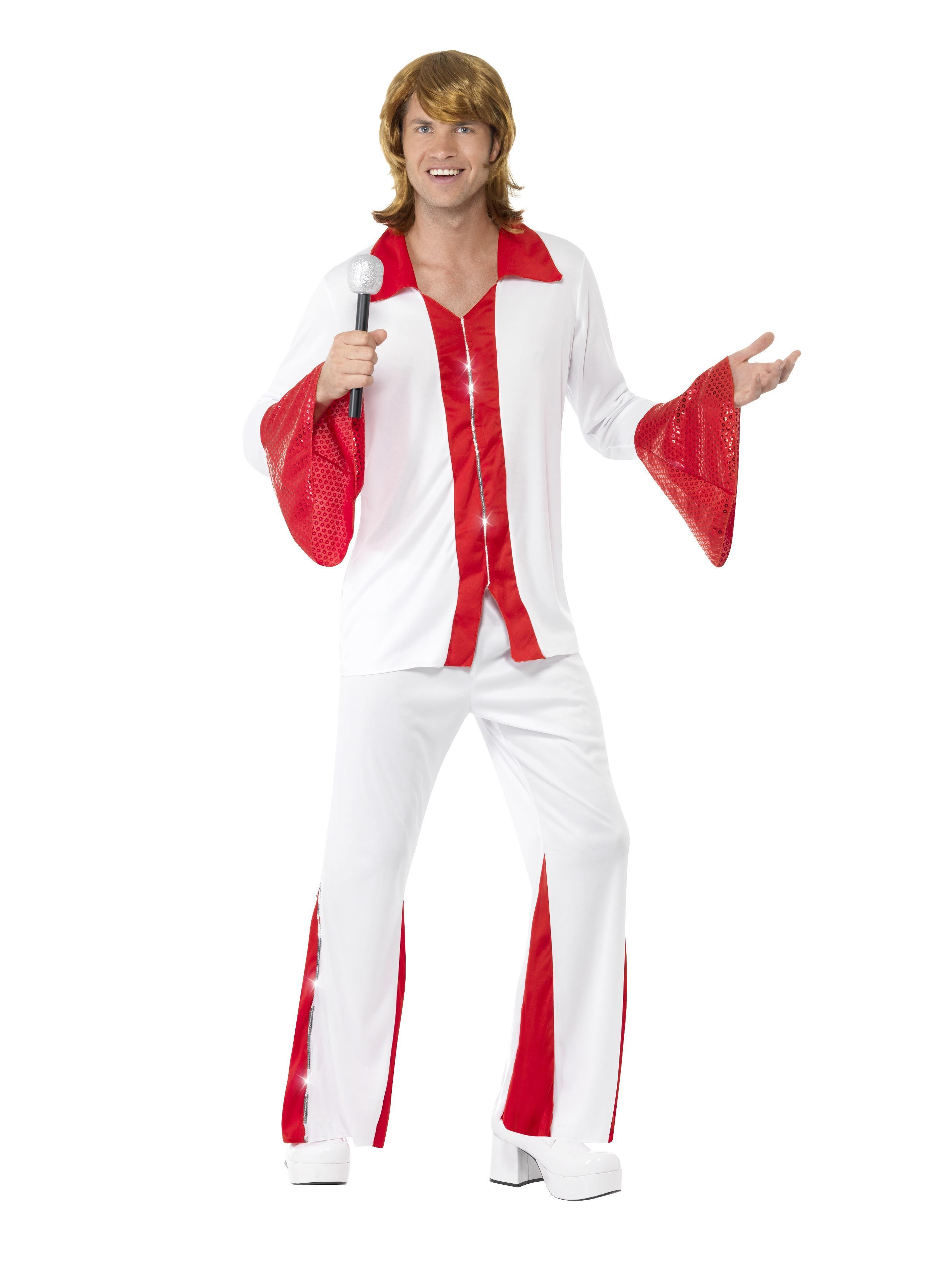 70s Super Trooper Male Costume White & Red