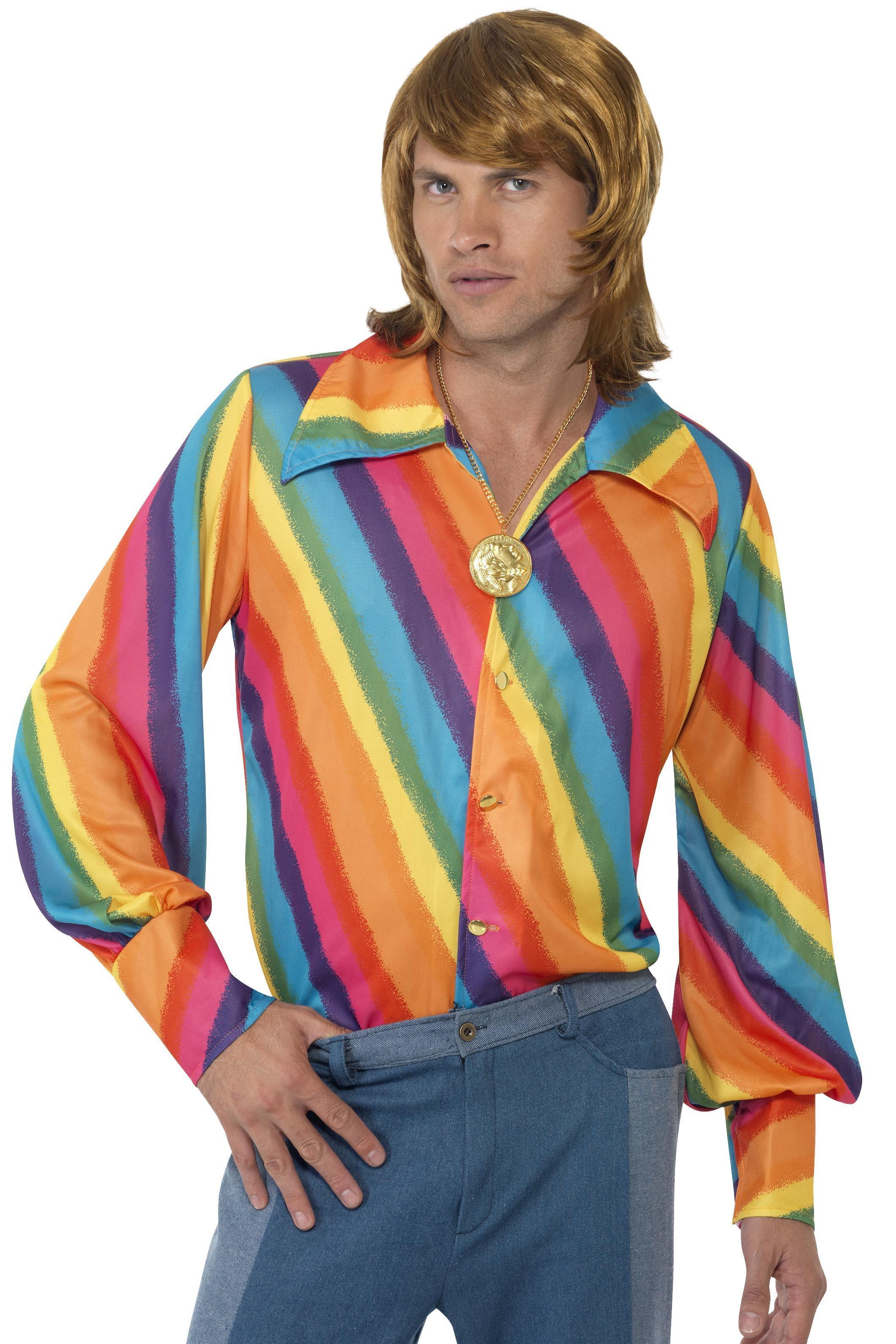 Mens 70s Colour Shirt Rainbow