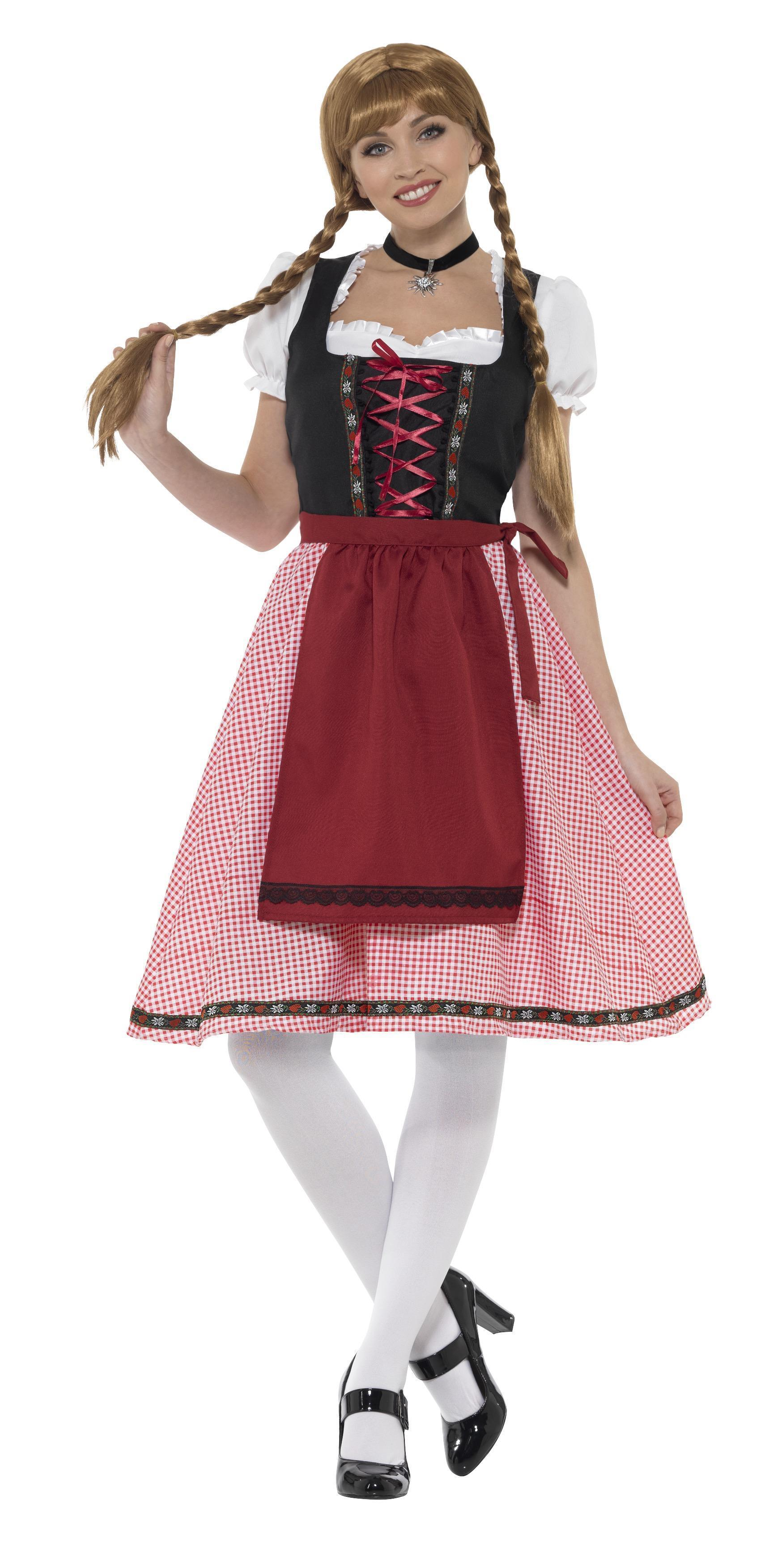 Bavarian Tavern Maid Costume Red & Black