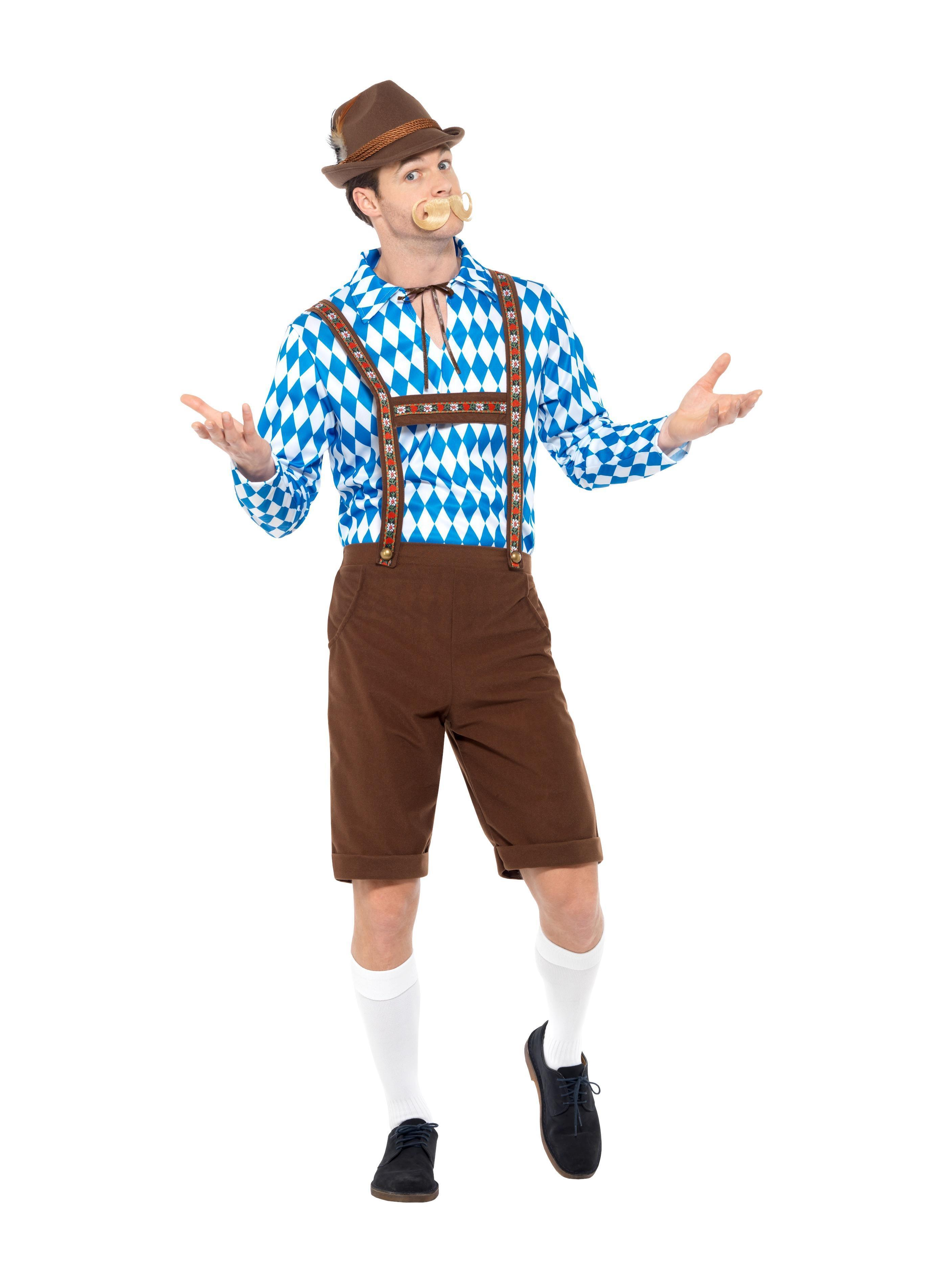 Bavarian Beer Man Costume Blue & Brown