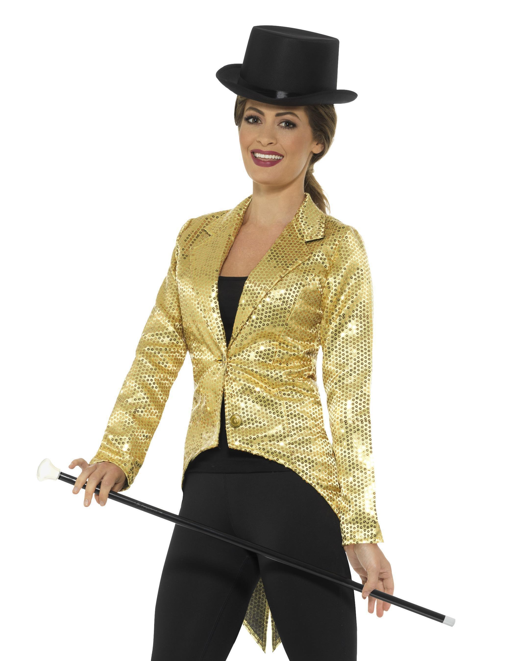 Sequin Tailcoat Jacket Ladies Gold
