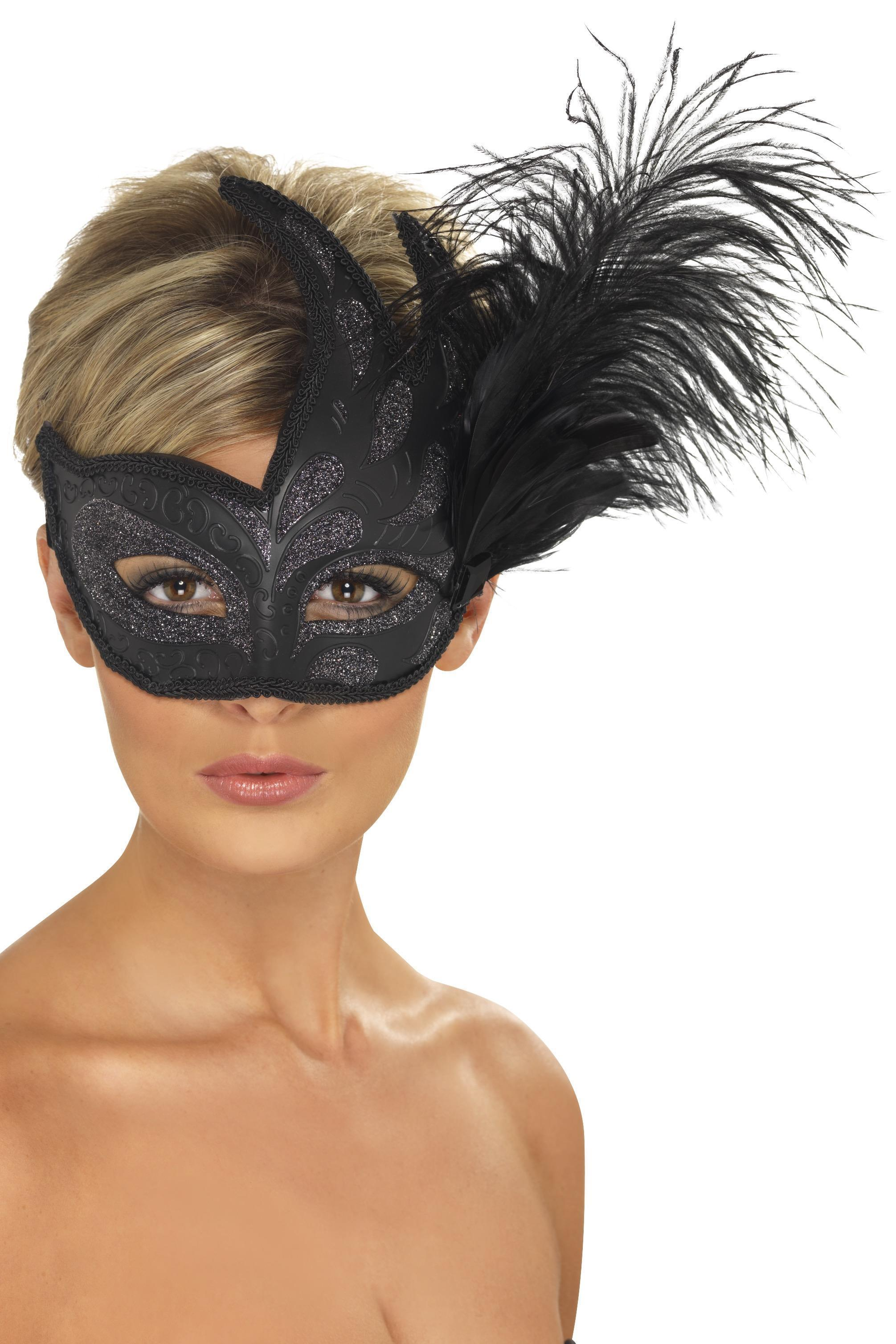 Ornate Colombina Feather Eye Mask Black