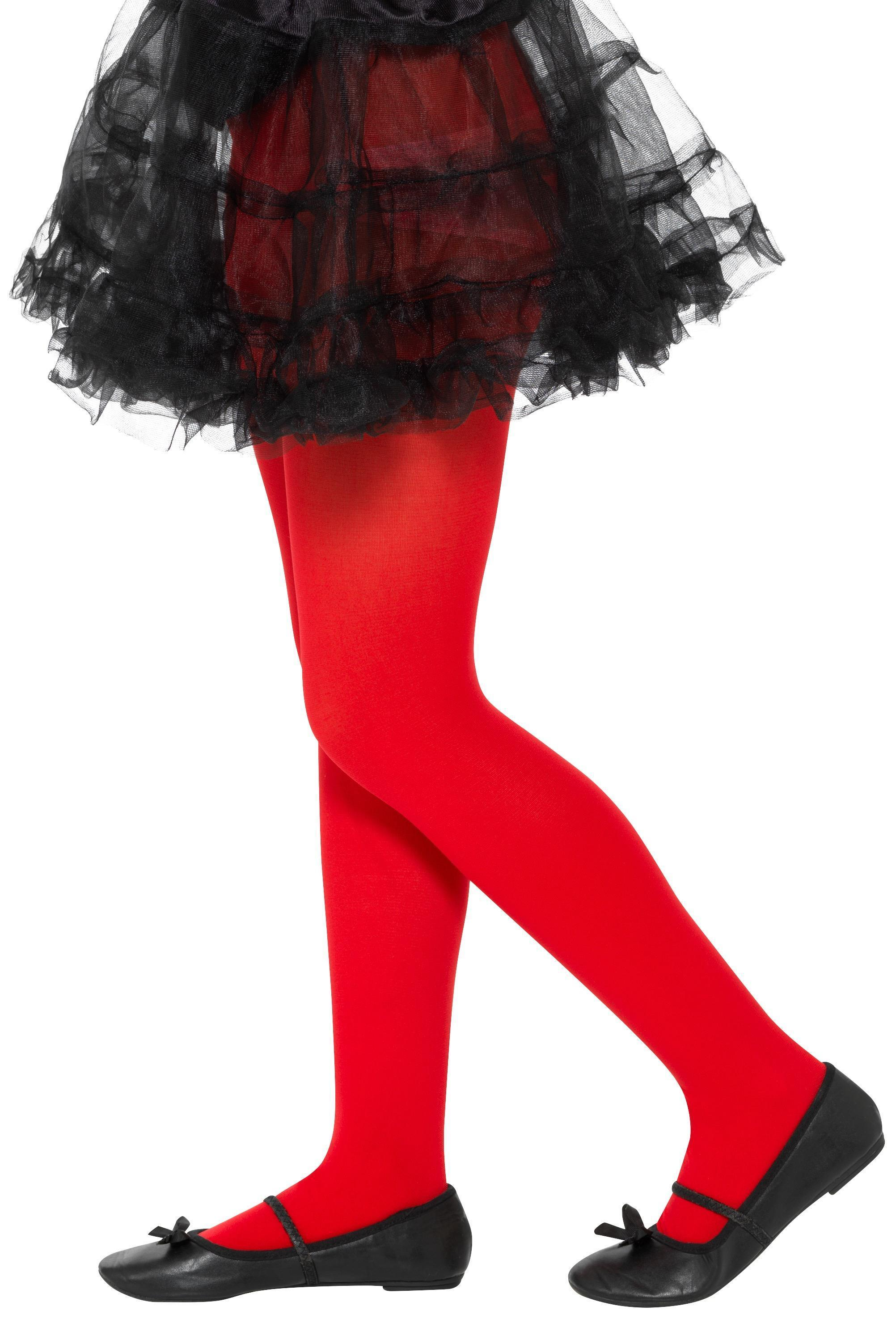Opaque Tights Red Age 6-12