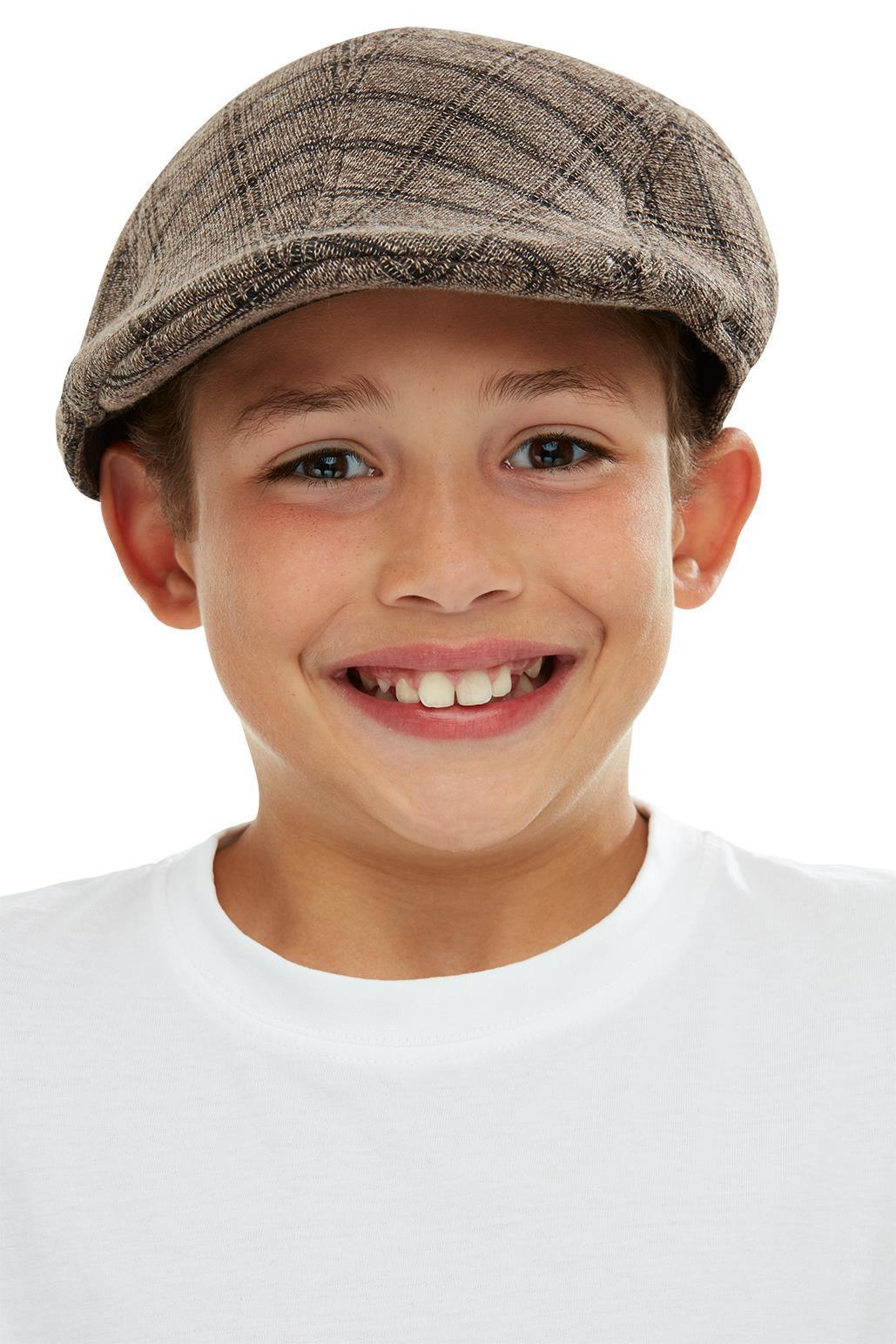 Kids Flat Cap Brown & Black