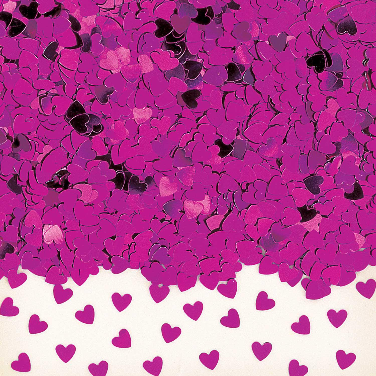 Metallic Confetti Hearts Hot Pink