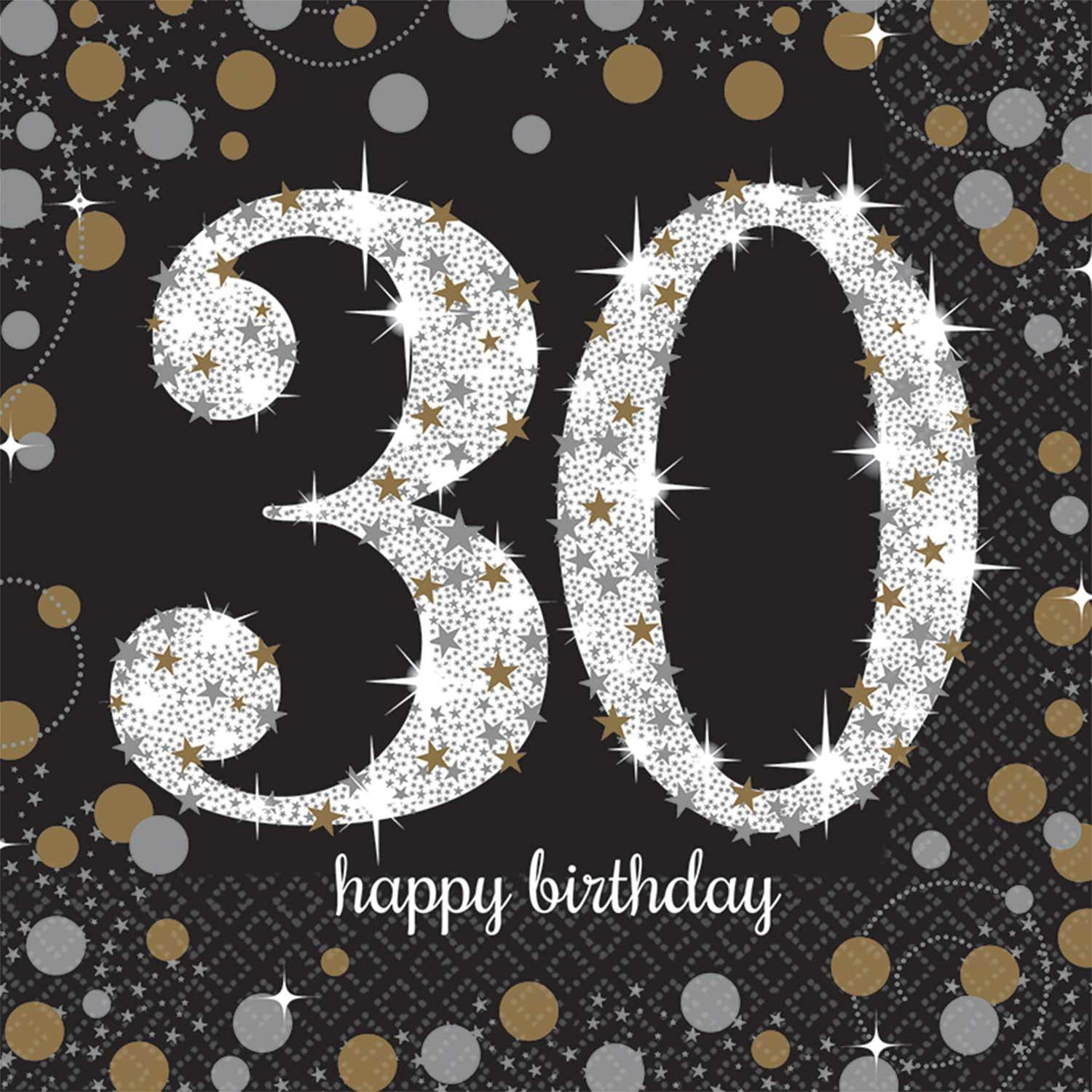Paper Napkins 30th Birthday Black Gold Silver