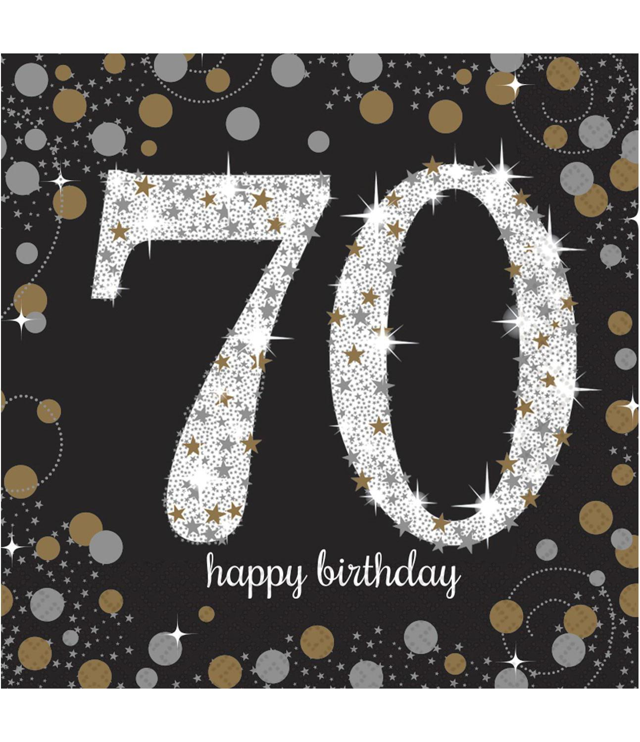 Paper Napkins 70th Birthday Black Gold Silver