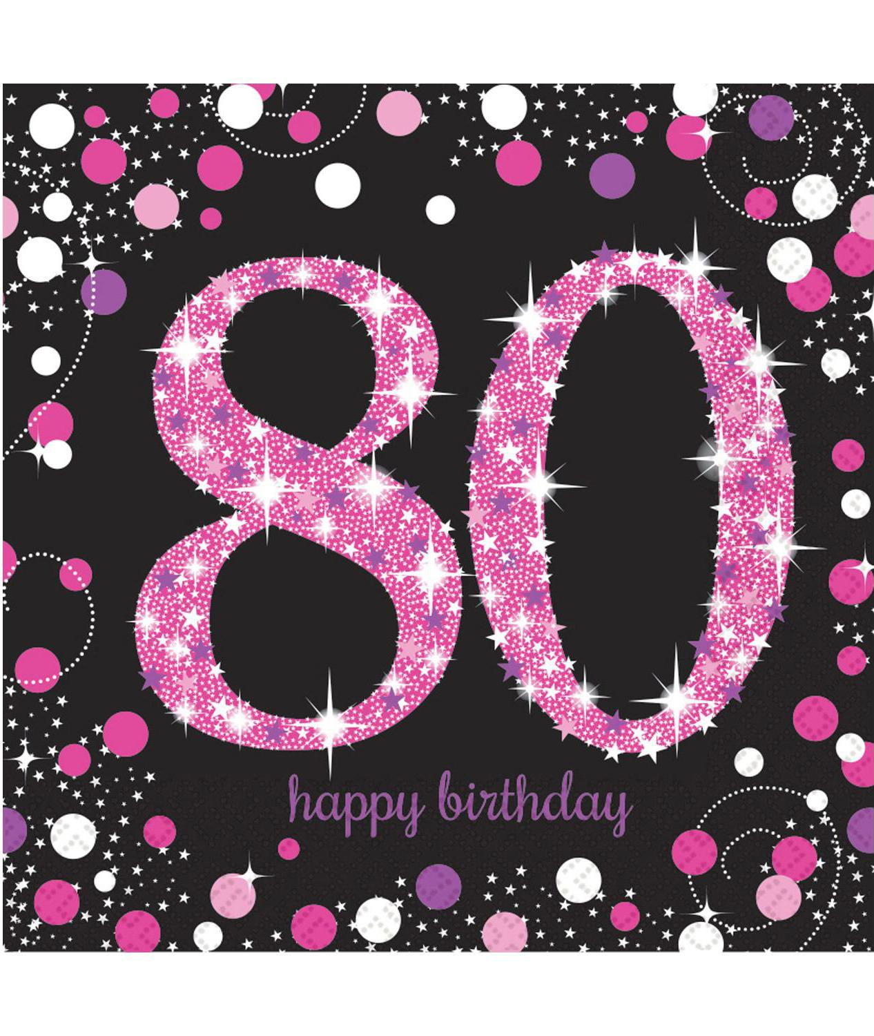Paper Napkins 80th Birthday Pink & Silver