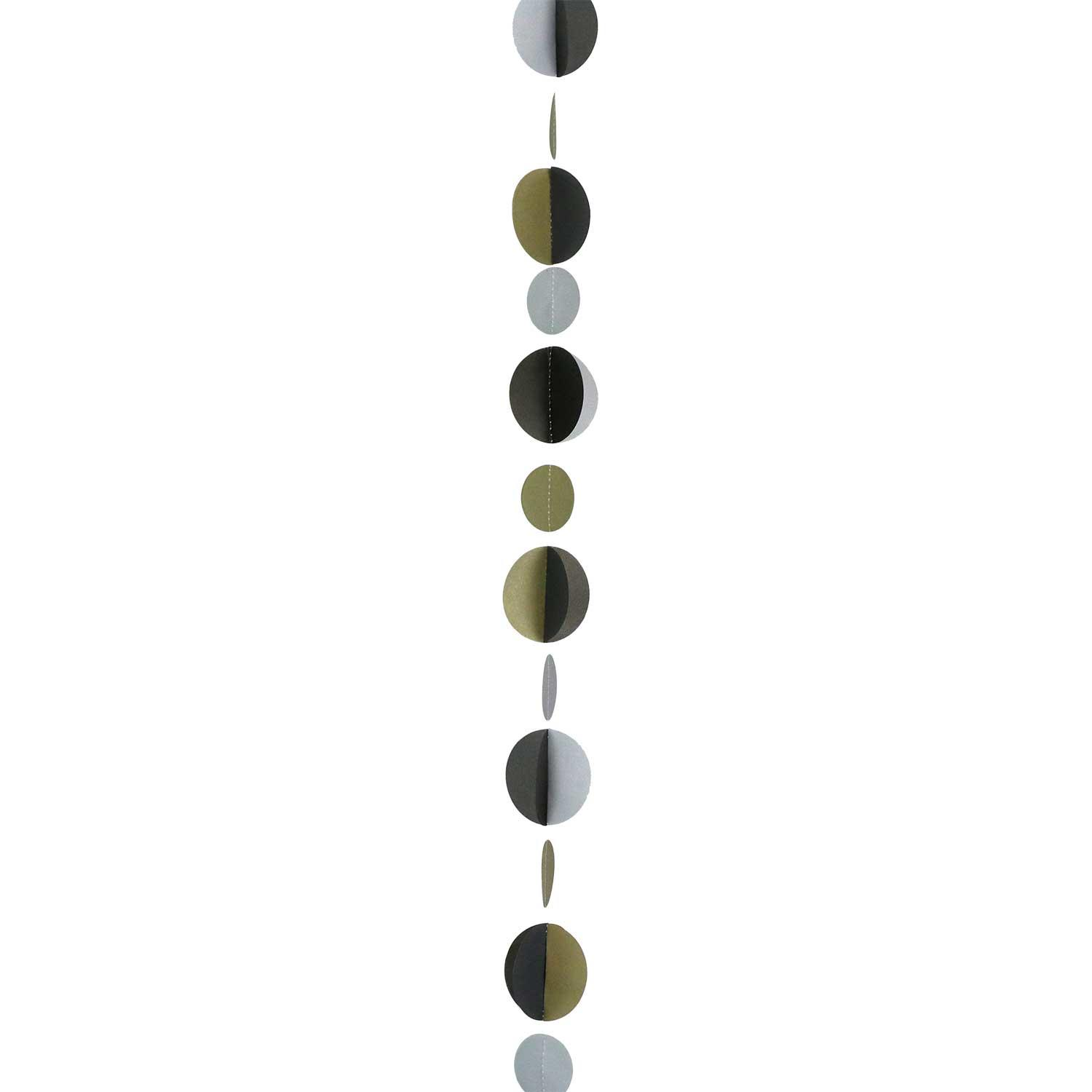 Balloon Tail String Circles Gold Black & Silver