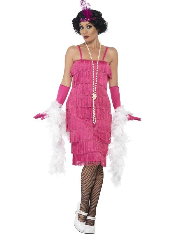 1920s Flapper Costume Pink Long