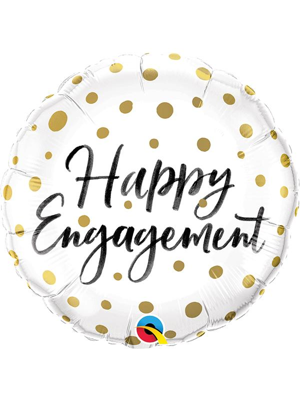 Foil Balloon Happy Engagement Gold Dots