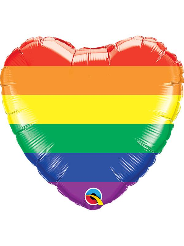 Foil Balloon Rainbow Flag Heart