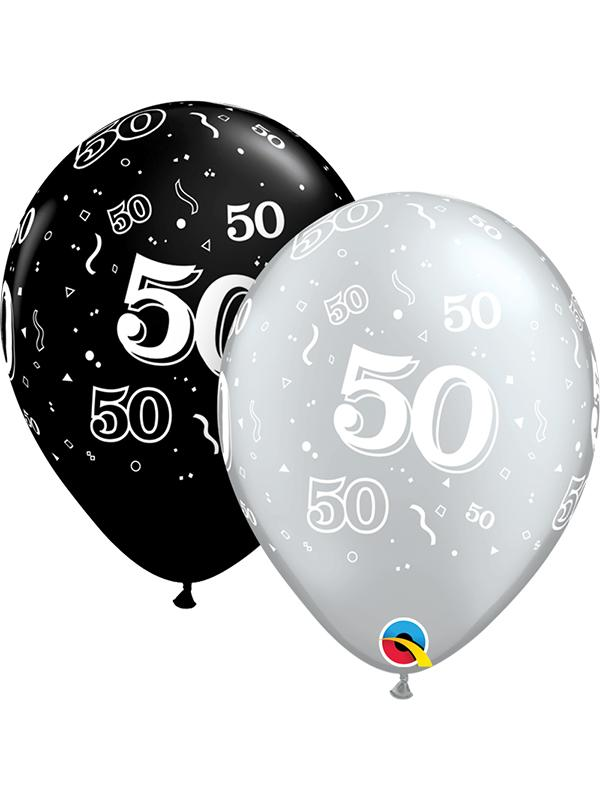 Latex Balloons Black & Silver Age 50