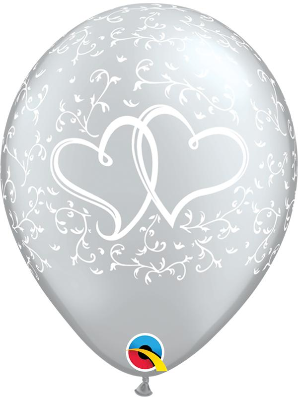 Latex Balloons Entwined Hearts Silver