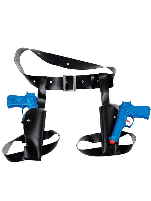 Double Gun & Thigh Holster Set Blue