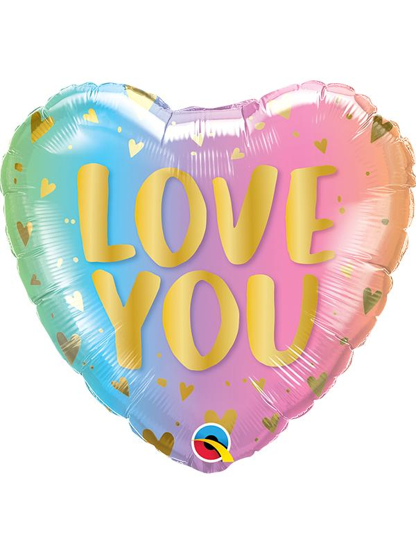Foil Balloon Love You Pastel Ombre