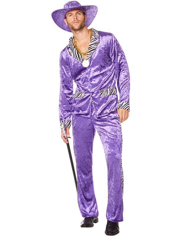 Male 1970's Pimp Suit Purple