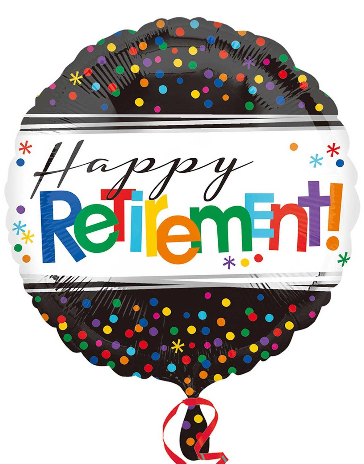 Foil Balloon Happy Retirement Black