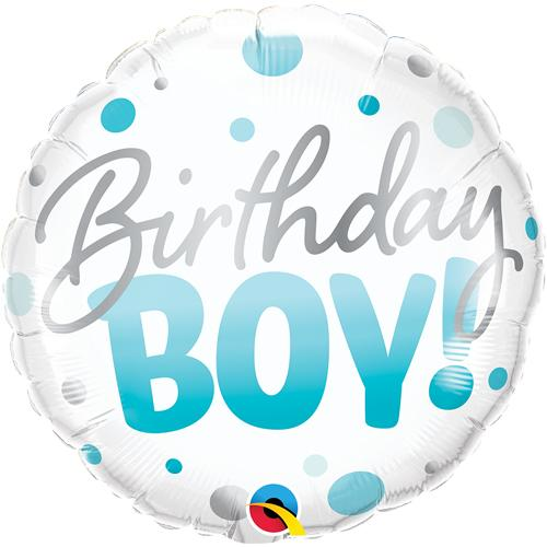 Foil Balloon Birthday Boy Blue Round