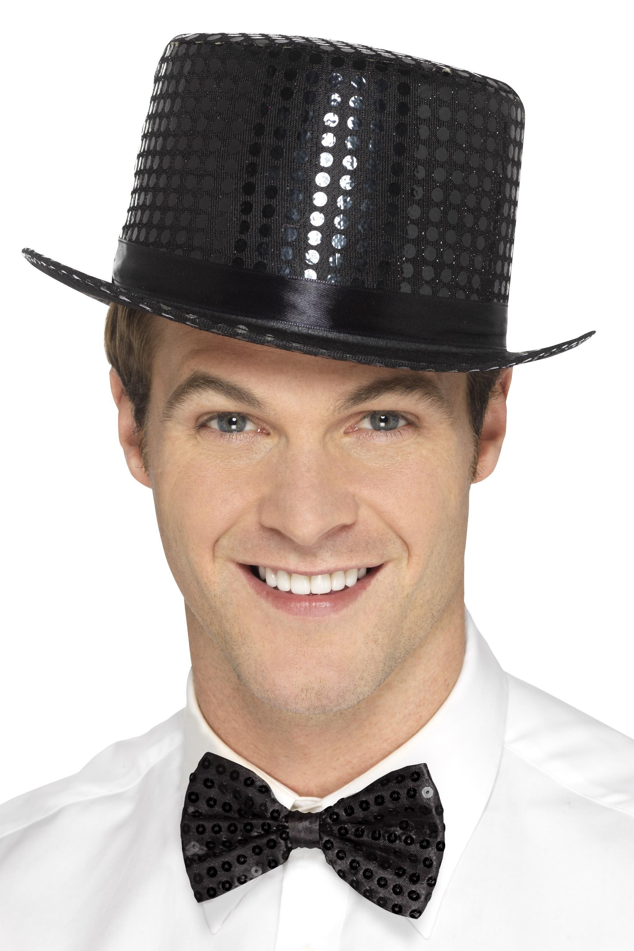 Sequin Top Hat Black
