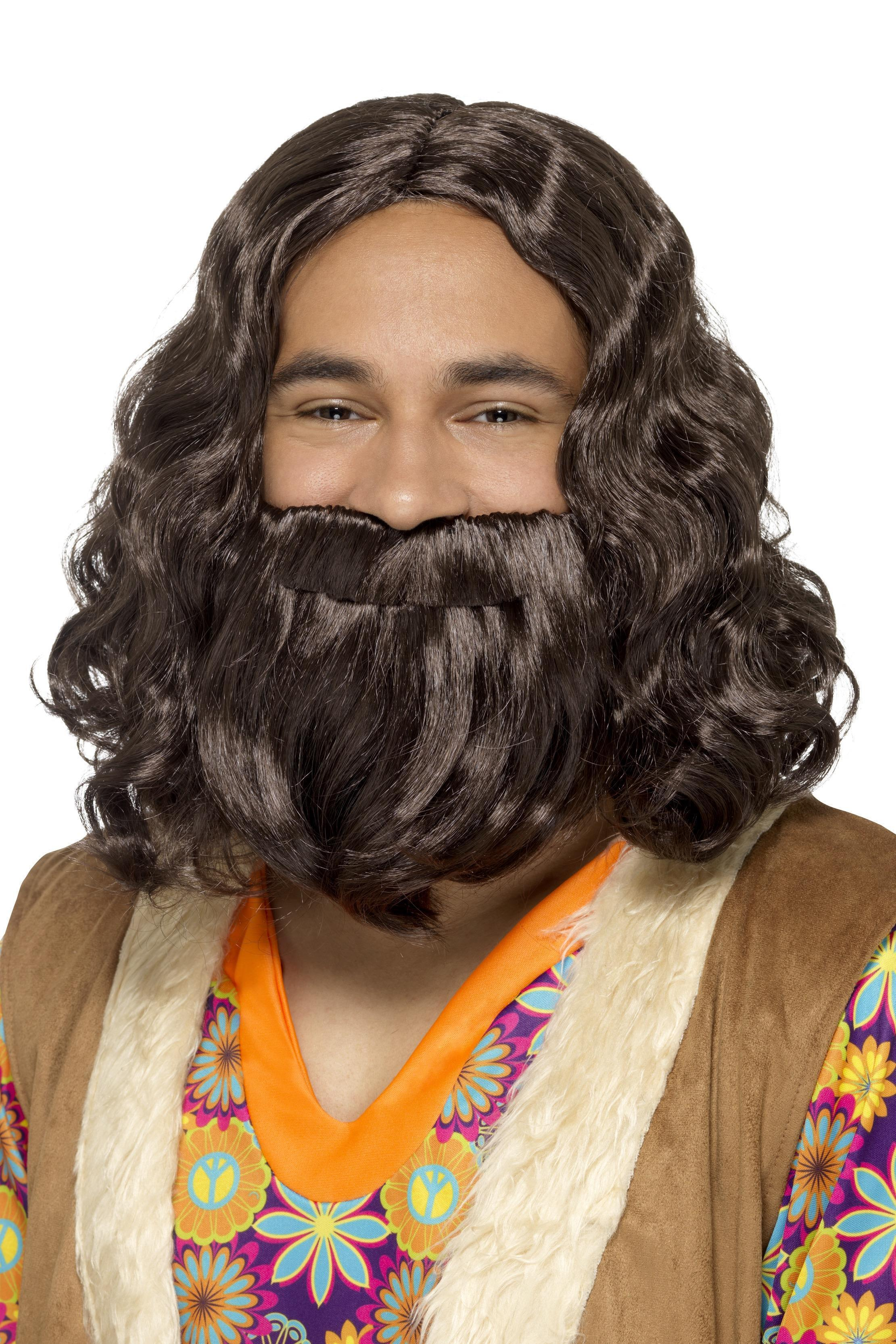 Hippie / Jesus Wig & Beard Set Brown