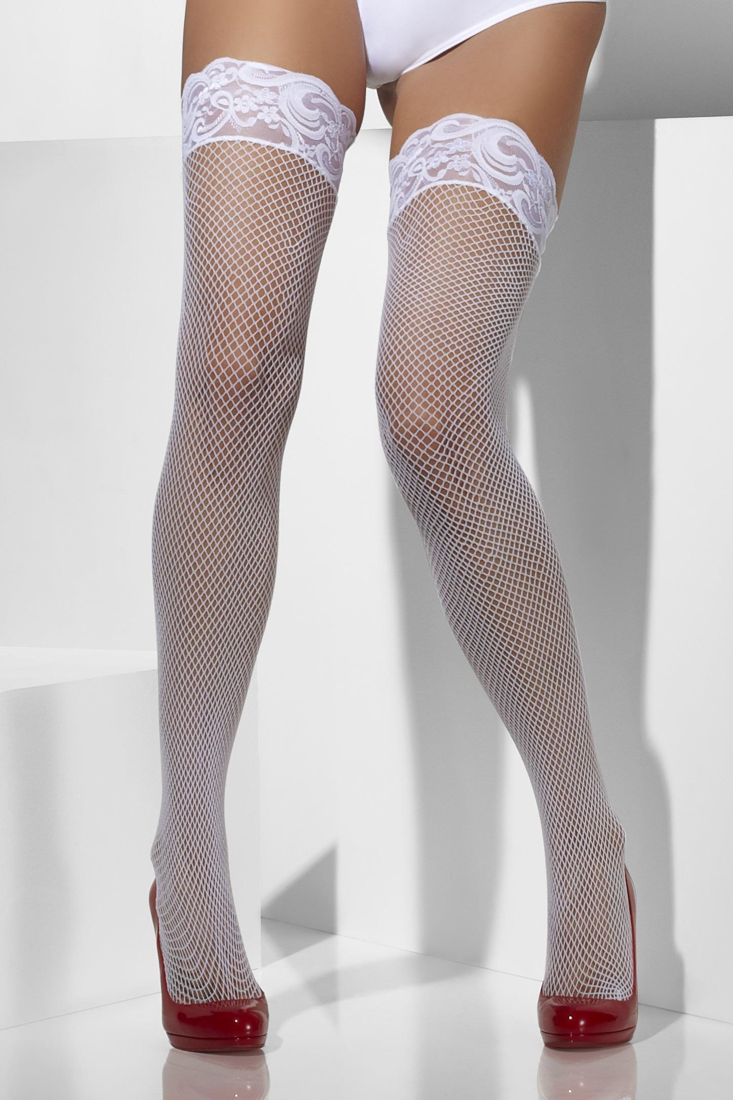 Fishnet Hold-Ups White Lace Top