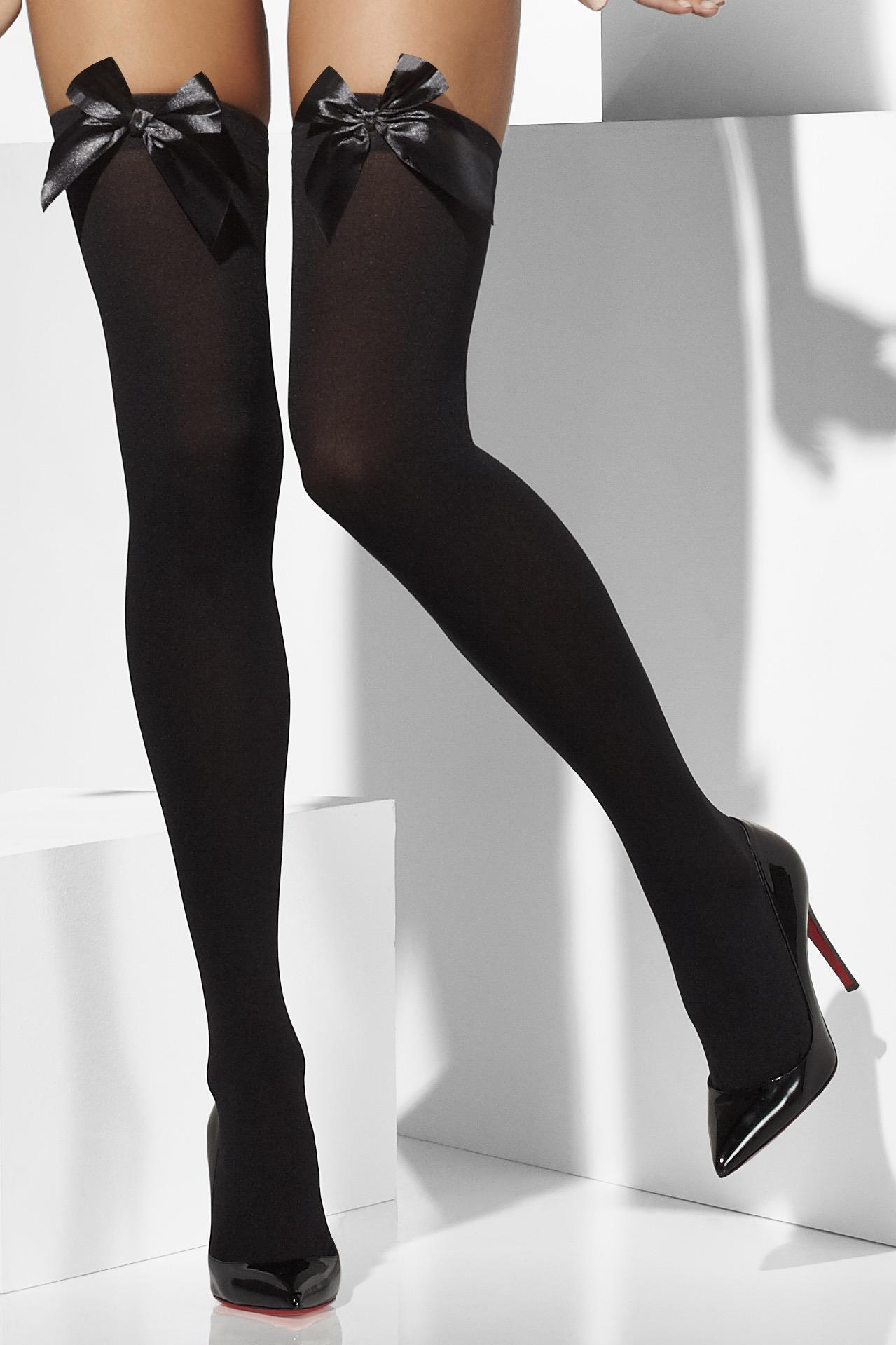 Opaque Hold-Ups Black with Black Bows