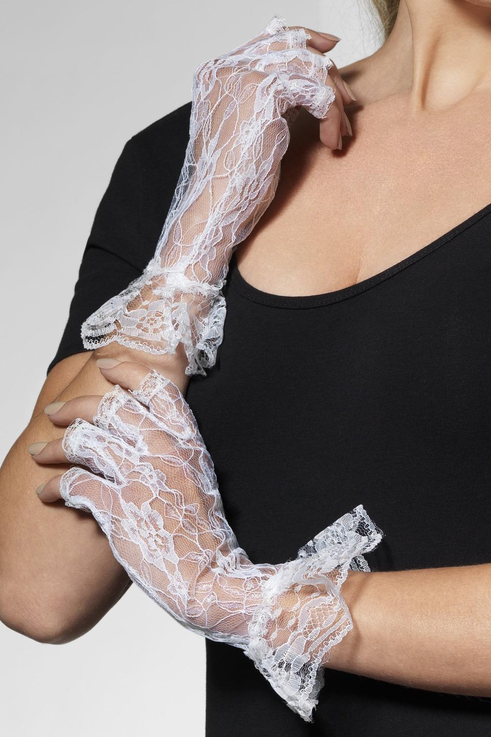 Fingerless Lace Gloves White