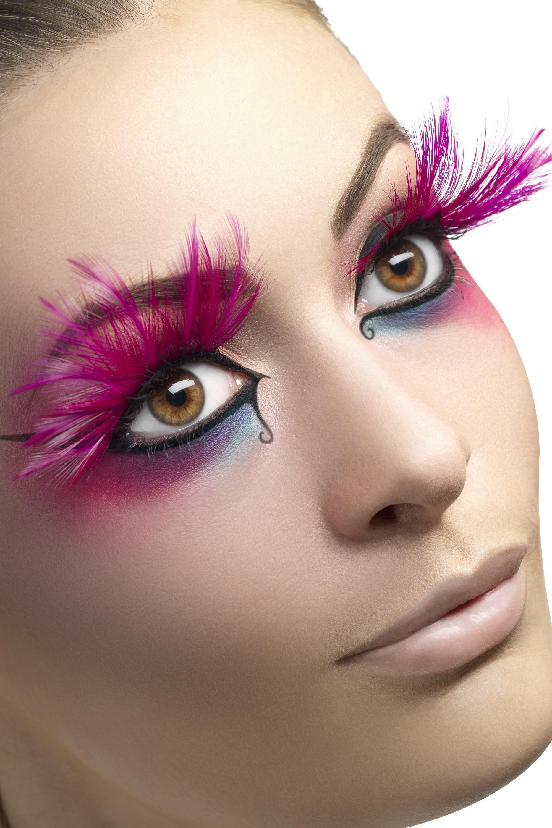 Eyelashes Pink with Feather Plumes