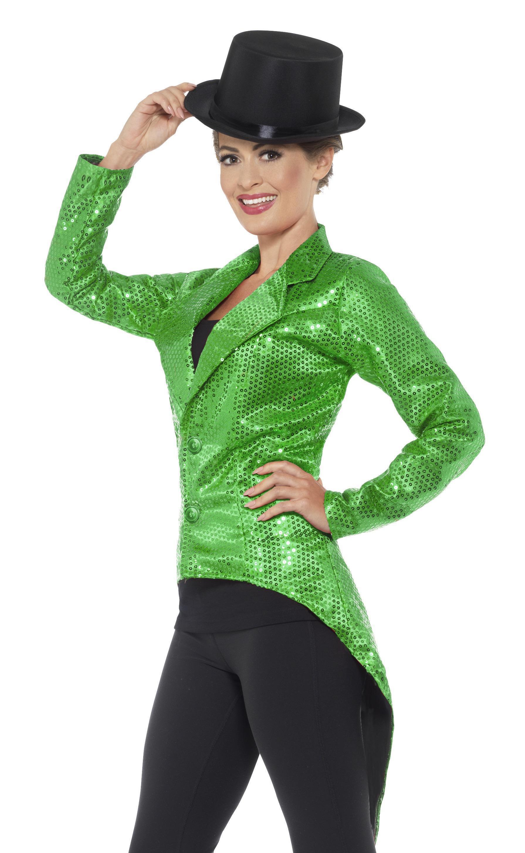 Sequin Tailcoat Jacket Ladies Green