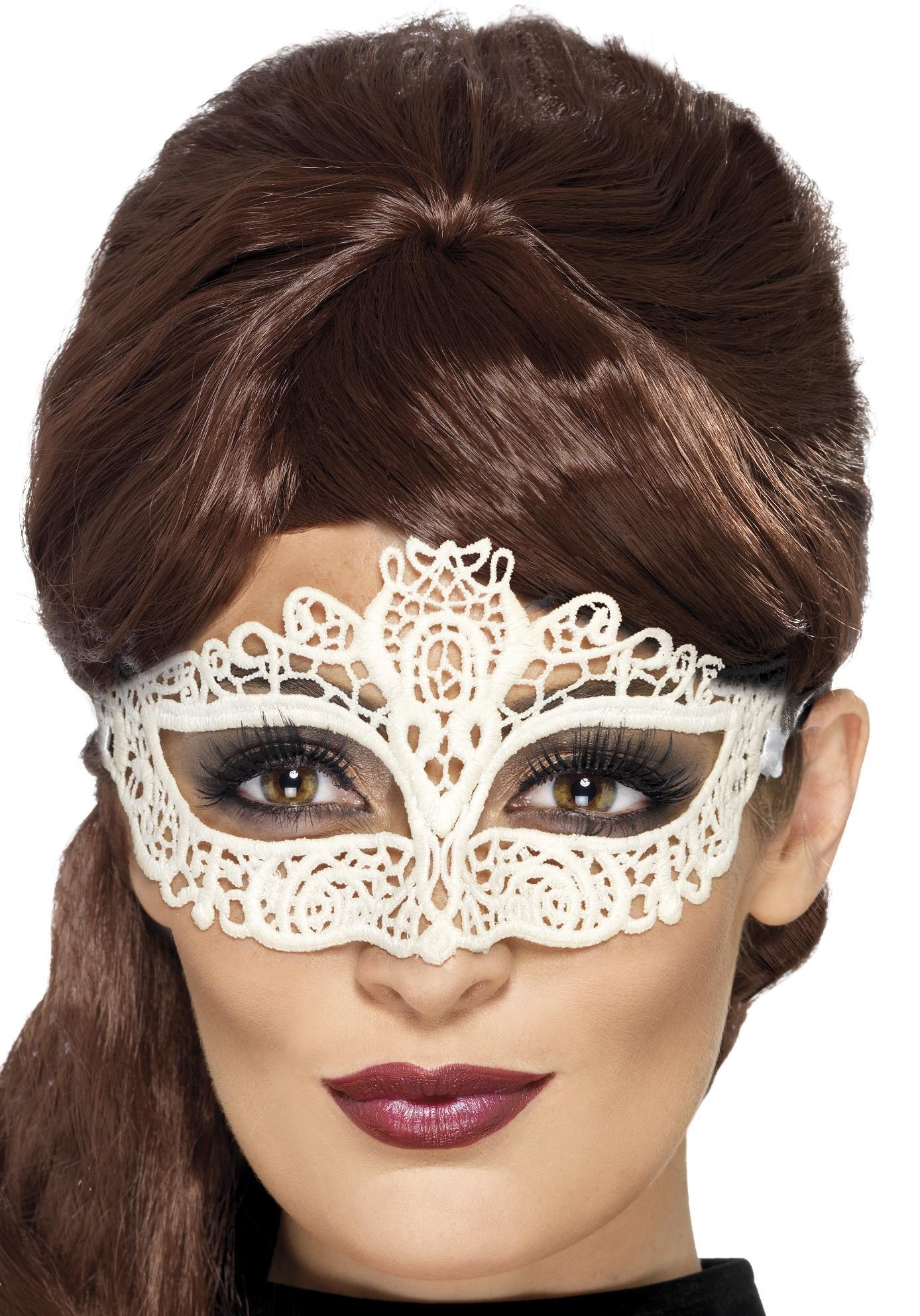 Embroidered Lace Filigree Eye mask White