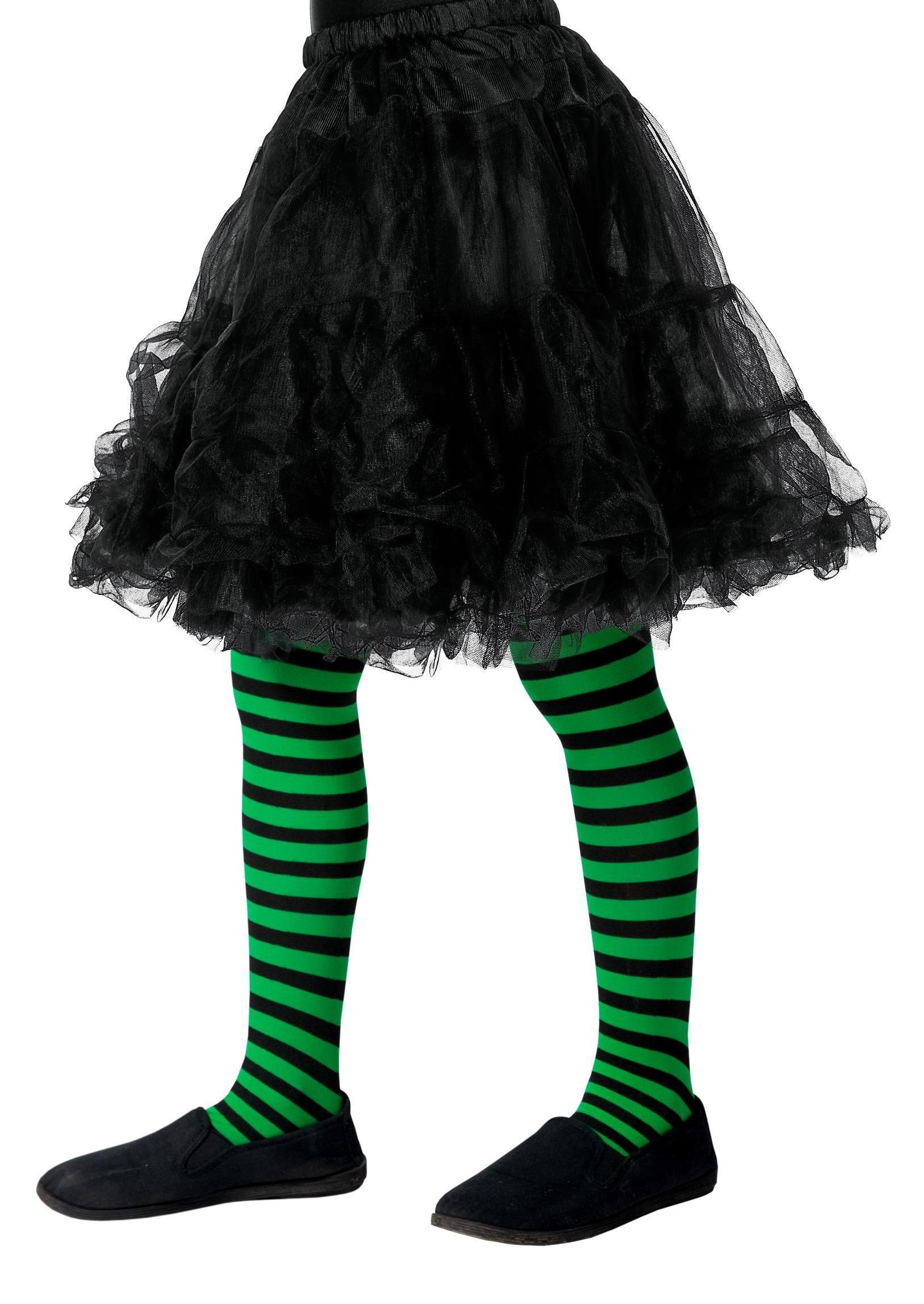 Black & Green Stripe Tights Age 6-12