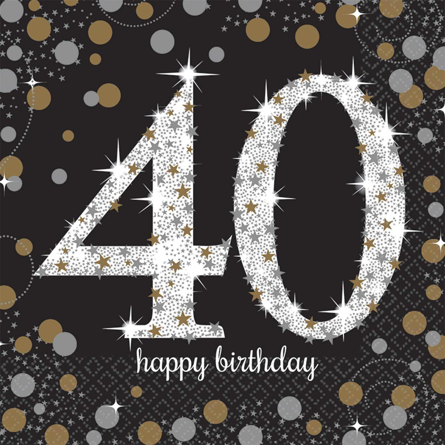 Paper Napkins 40th Birthday Black Gold Silver
