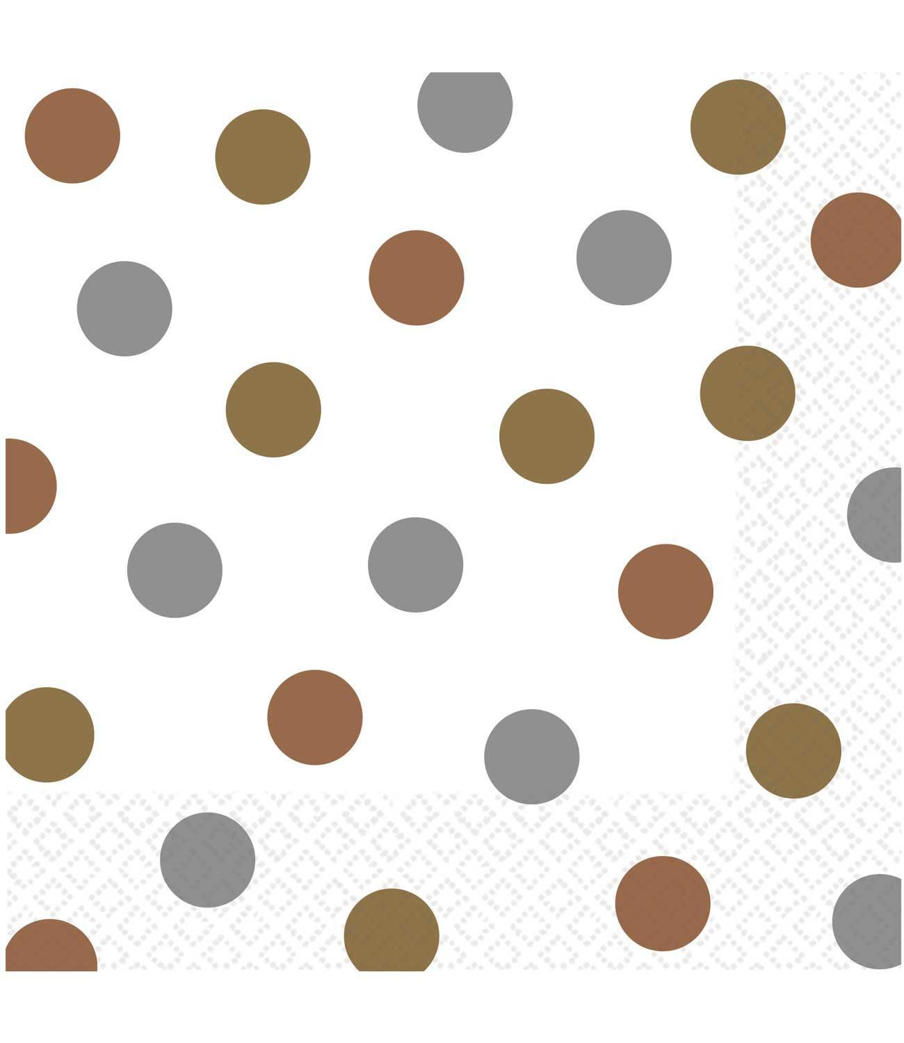 Paper Napkins Dotty Silver & Gold
