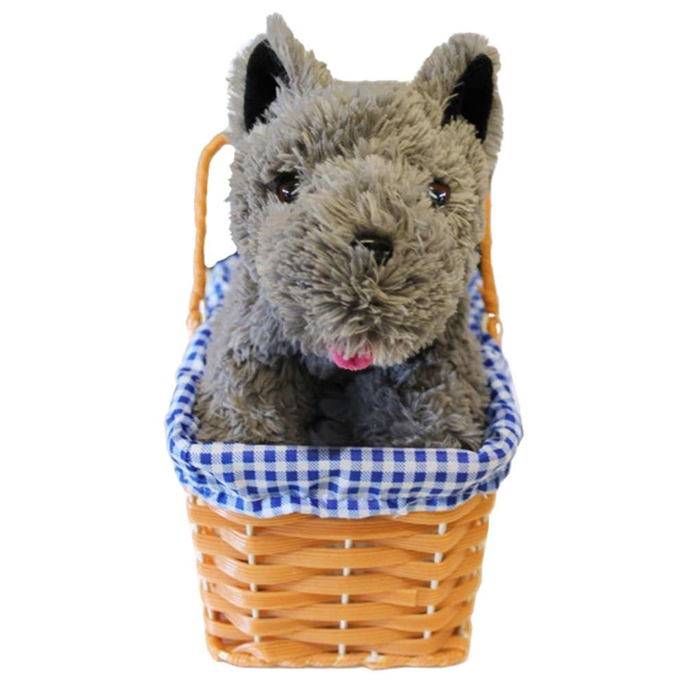 Blue Gingham Basket with Dog