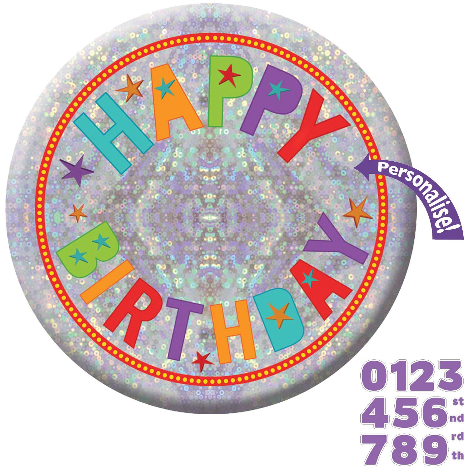 Holographic Badge Birthday Add an Age