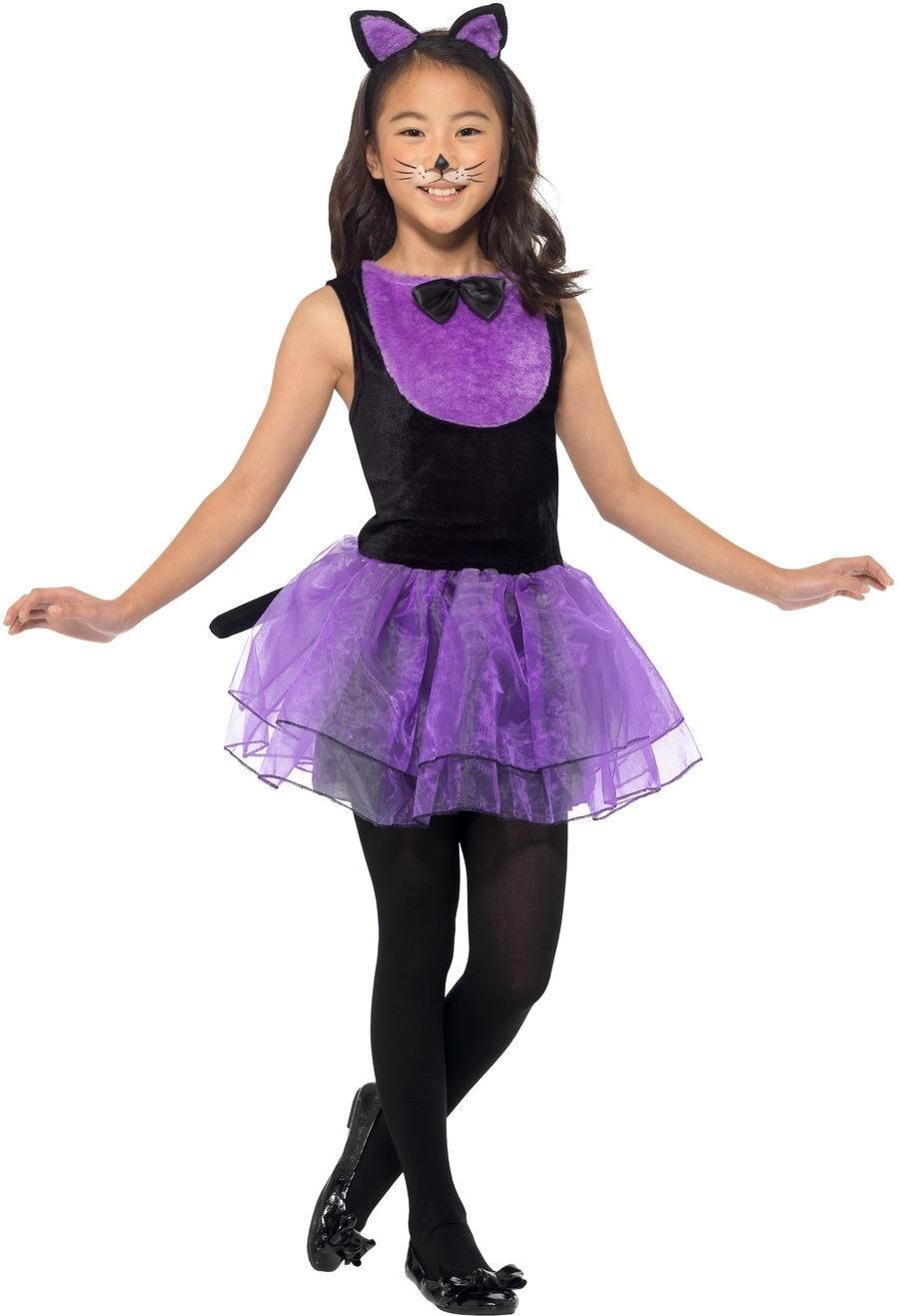 Kids Cat Costume Black & Purple